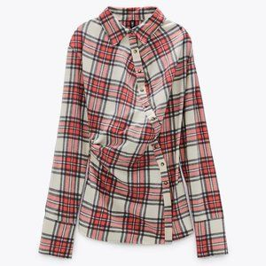 🔥MOVING SALE🔥New Zara PLAID Top Red Button UP XS